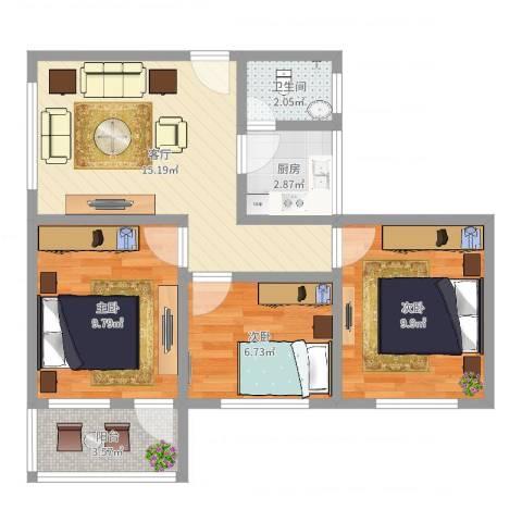 新兴白云花园3室1厅1卫1厨63.00㎡户型图