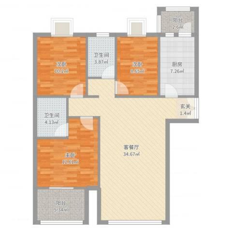 顺义区金汉绿港3室2厅2卫1厨112.00㎡户型图