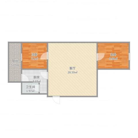瑞通里2室1厅1卫1厨70.00㎡户型图