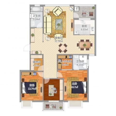 浪琴海3室2厅2卫1厨151.00㎡户型图