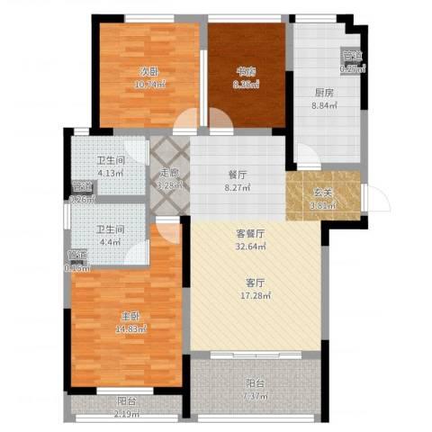 骋望七里楠花园3室2厅2卫1厨118.00㎡户型图