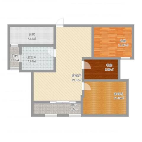 首钢首御2室2厅1卫1厨124.00㎡户型图