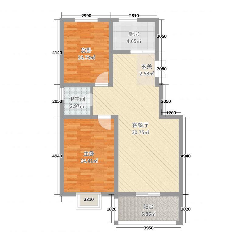 时代新城95.01㎡A户型2室2厅1卫