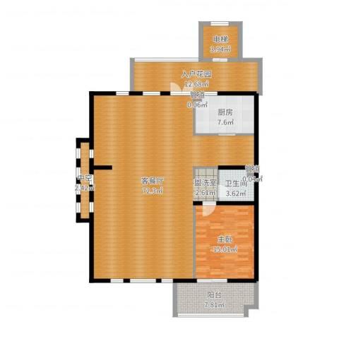 长发都市诸公1室2厅1卫1厨157.00㎡户型图