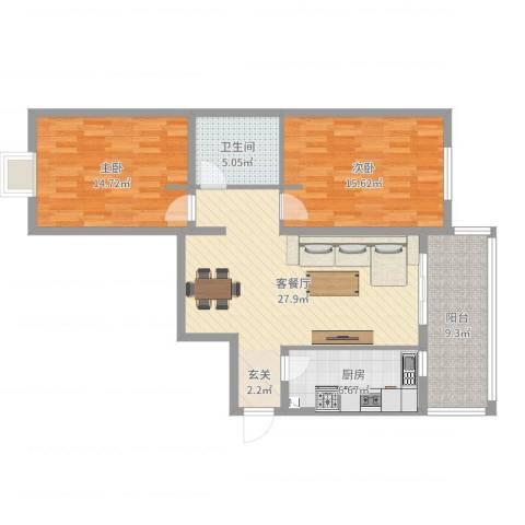 K2海棠湾2室2厅1卫1厨99.00㎡户型图