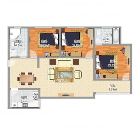 煜王苑3室1厅2卫1厨99.81㎡户型图