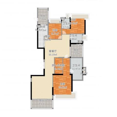 恒大绿洲3室2厅3卫1厨224.00㎡户型图