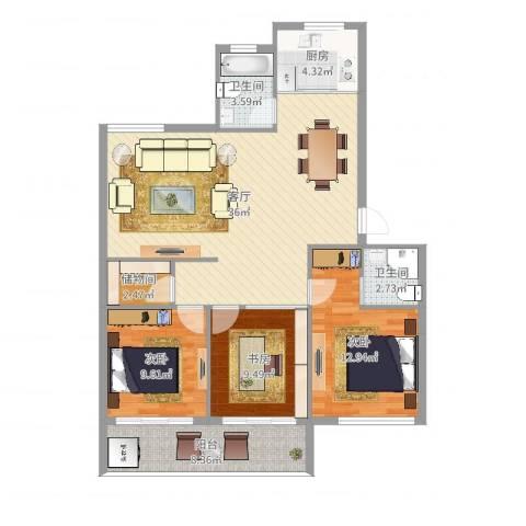 新佳苑3室1厅2卫1厨112.00㎡户型图