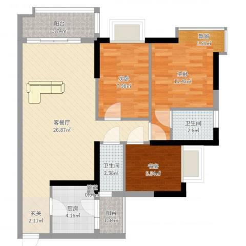 万华花园广弘叠水雨林3室2厅2卫1厨83.00㎡户型图