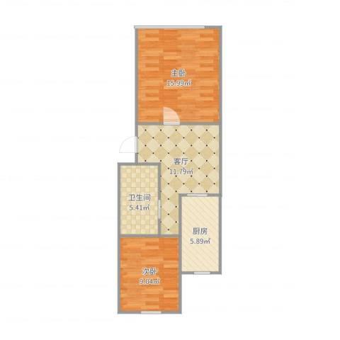 碧江路红旗五村2室1厅1卫1厨60.00㎡户型图