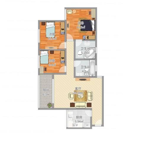 华侨城3室1厅2卫1厨104.00㎡户型图