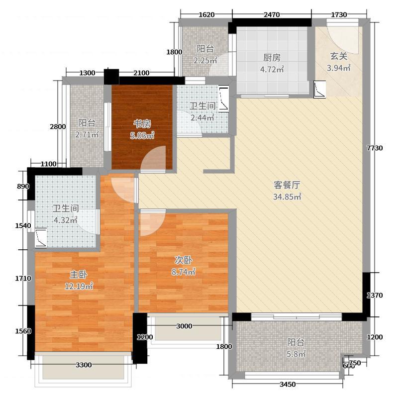 香榭水岸115.00㎡C户型3室3厅2卫1厨