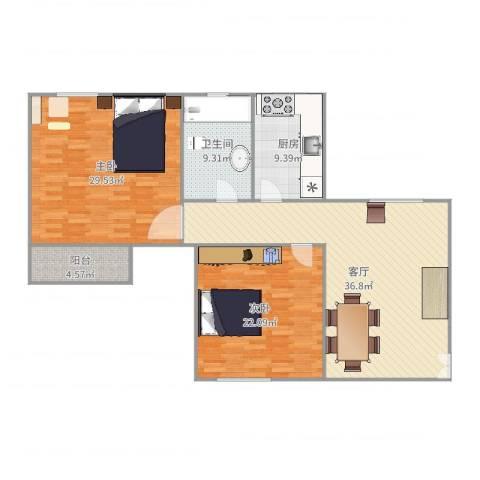 常兴家园2室1厅1卫1厨140.00㎡户型图