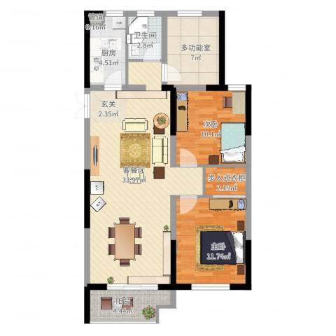 佳源巴黎都市2室2厅1卫1厨110.00㎡户型图