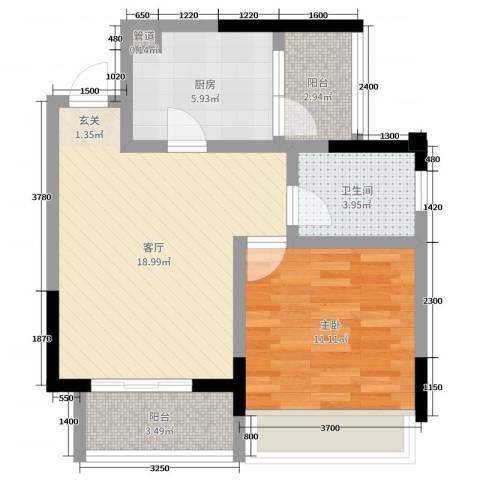 华恩・凯丽滨江1室1厅1卫1厨60.00㎡户型图