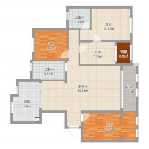 理工帝湖湾5室2厅2卫1厨137.00㎡户型图
