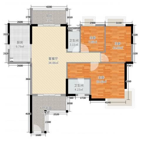 荔园悦享星醍3室2厅2卫1厨136.00㎡户型图