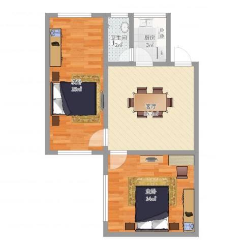 保利红棉花园2室1厅1卫1厨61.00㎡户型图