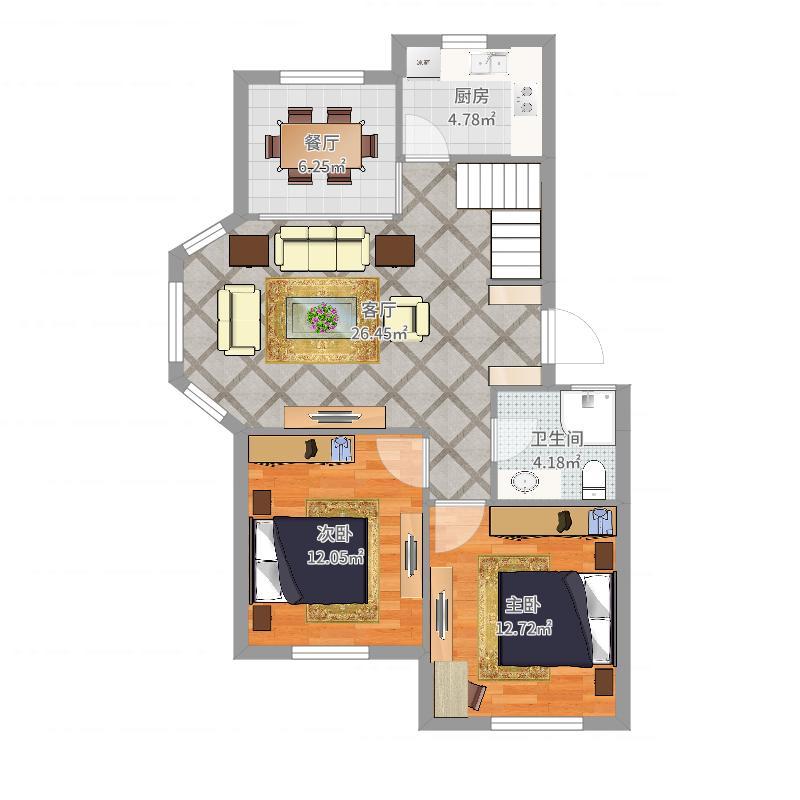 鲍家耷小区87.6顶加阁下层