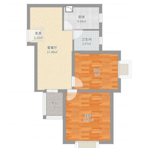 佳龙大沃城2室2厅1卫1厨63.00㎡户型图