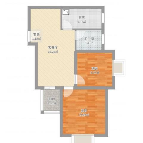 佳龙大沃城2室2厅1卫1厨65.00㎡户型图