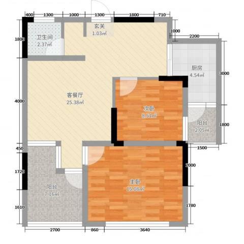 坤龙西城国阙2室2厅1卫1厨83.00㎡户型图