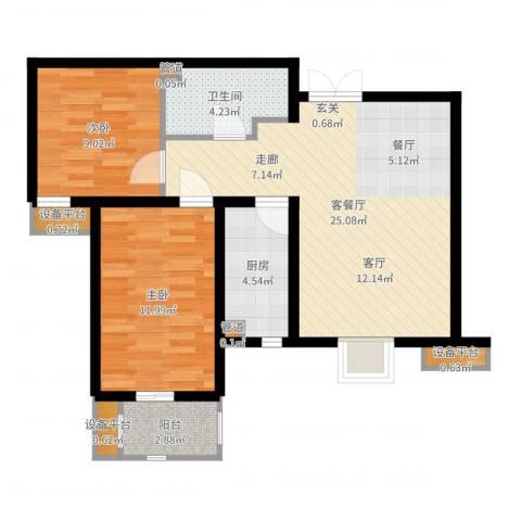 紫韵枫尚2室2厅1卫1厨75.00㎡户型图