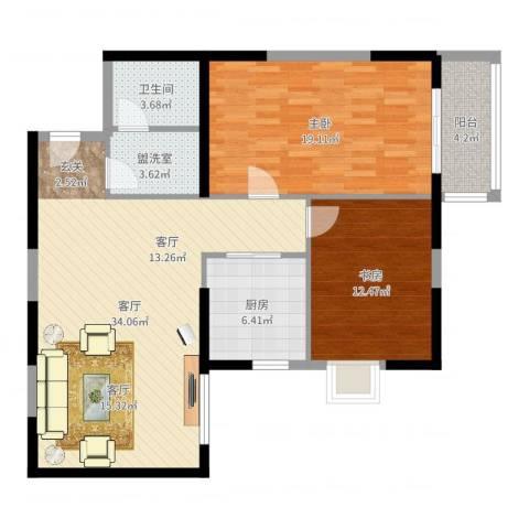 东南春晓2室1厅1卫1厨104.00㎡户型图