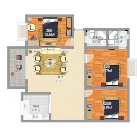 幸福家园3室1厅2卫1厨123.00㎡户型图