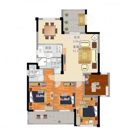 郦景阳光二期4室2厅2卫1厨183.00㎡户型图