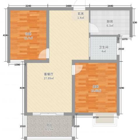 翡翠华庭2室2厅1卫1厨88.00㎡户型图