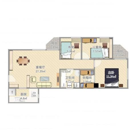 海怡花园3室2厅1卫1厨79.00㎡户型图