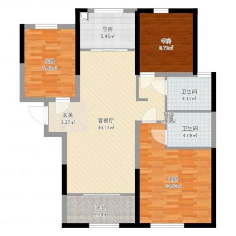 天朗五珑3室2厅2卫1厨105.00㎡户型图