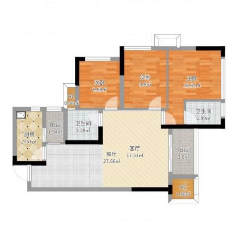 鸥鹏中央公园3室1厅2卫1厨91.00㎡户型图