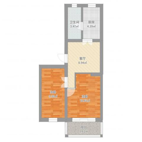 劲顺花园2室1厅1卫1厨51.00㎡户型图
