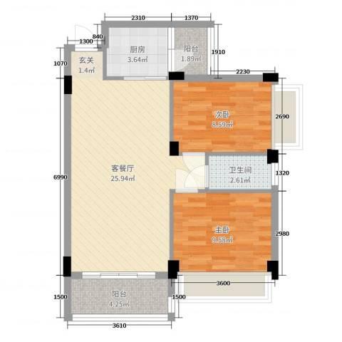 君安花苑三期2室2厅1卫1厨60.00㎡户型图