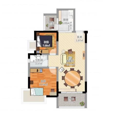 池州碧桂园2室2厅1卫1厨80.00㎡户型图