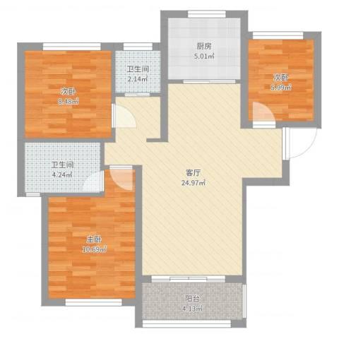 佛奥康桥水岸3室1厅2卫1厨82.00㎡户型图