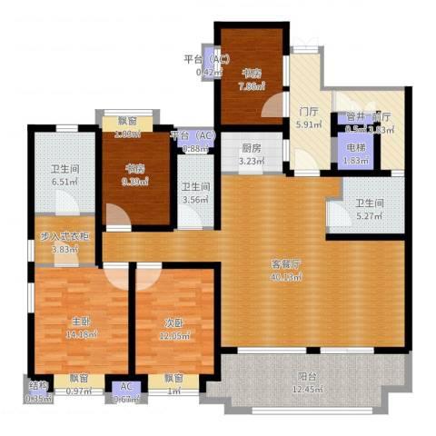 长发都市诸公4室2厅3卫1厨166.00㎡户型图