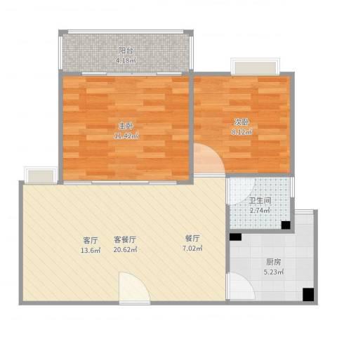 江畔花园3期3022室2厅1卫1厨65.00㎡户型图