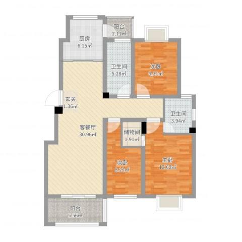 海洲铂兰庭3室2厅2卫1厨108.00㎡户型图