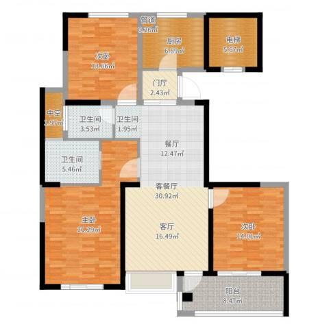 长江国际・朗庭3室2厅2卫1厨143.00㎡户型图