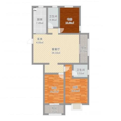 中达・名门世家3室2厅2卫1厨120.00㎡户型图