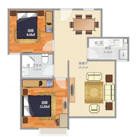 天瑞名城2室2厅1卫1厨66.00㎡户型图