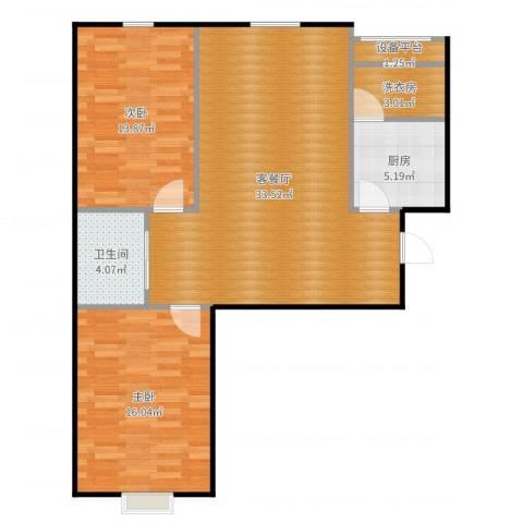 国信嘉邑2室2厅1卫1厨96.00㎡户型图