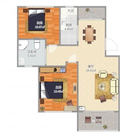嘉城雅颂湾2室1厅1卫1厨90.00㎡户型图