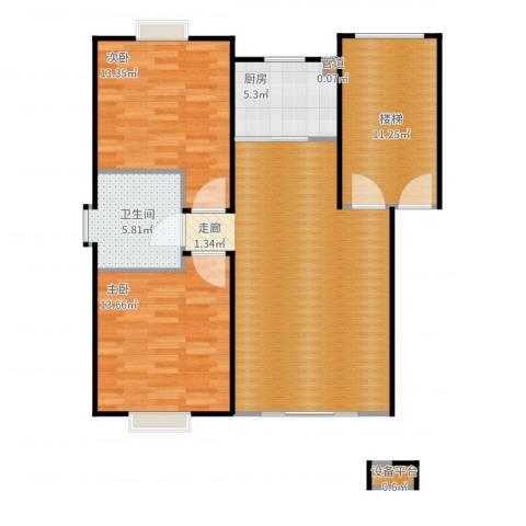 鸿运华庭2室2厅1卫1厨106.00㎡户型图