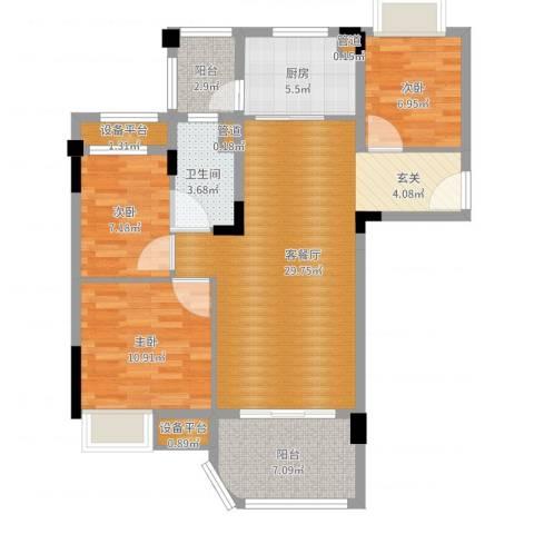 南通碧桂园3室2厅3卫3厨96.00㎡户型图