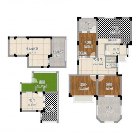申亚花满庭3室3厅1卫1厨180.00㎡户型图