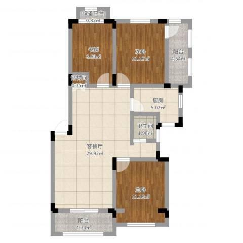 申亚花满庭3室2厅1卫1厨97.00㎡户型图